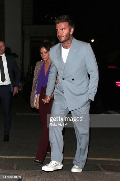 Victoria and David Beckham seen attending Victoria Beckham dinner at Harry's bar during LFW September 2019 on September 15 2019 in London England