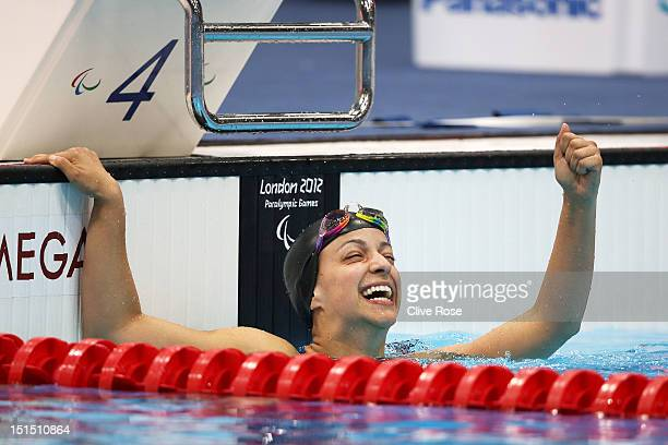 Victoria Arlen of the United States celebrates after winning gold in the Women's 100m Freestyle S6 final on day 10 of the London 2012 Paralympic...