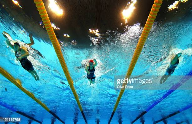 Victoria Arlen of the United States Eleanor Simmonds of Great Britain and Mirjam de KoningPeper of Netherlands compete in the Women's 400m Freestyle...