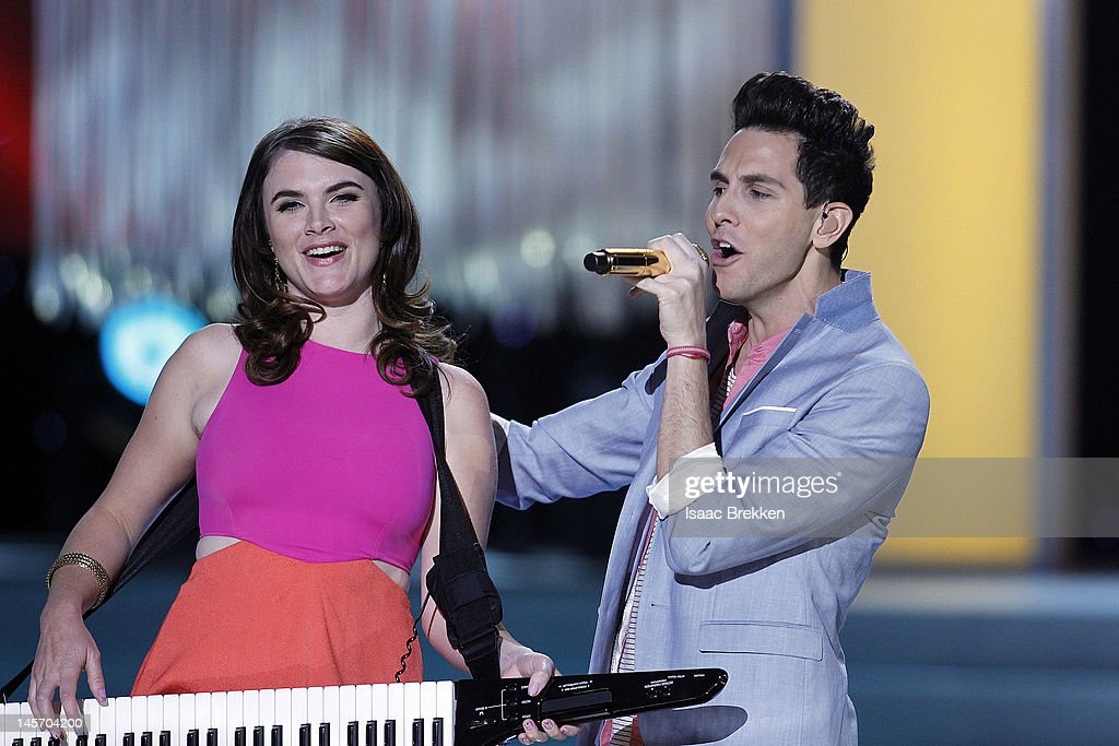 Victoria Asher and Gabe Saporta of Cobra Starship perform during the 2012 Miss USA pageant at the Planet Hollywood Resort & Casino on June 3, 2012 in Las Vegas, Nevada.