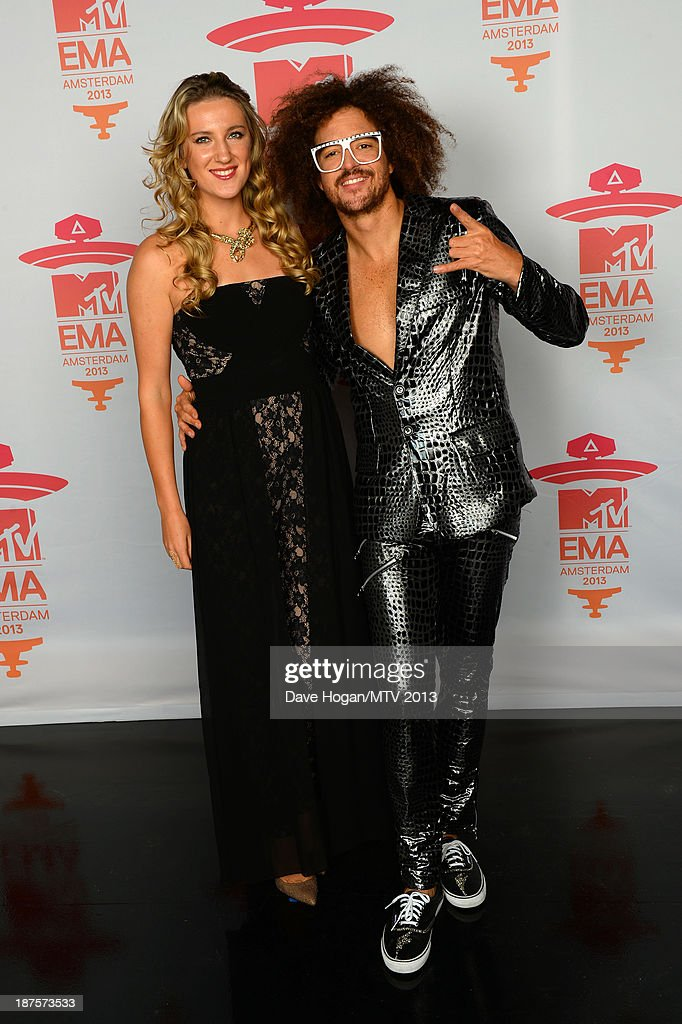 Victoria Azarenka and Redfoo pose in the Exclusive Arrivals Studio during MTV EMA's 2013 at the Ziggo Dome on November 10, 2013 in Amsterdam, Netherlands.
