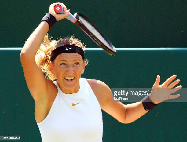 Victoria Azarenka during his match against Monica Puig day three of The Boodles Tennis Event at Stoke Park on June 28 2018 in Stoke Poges England