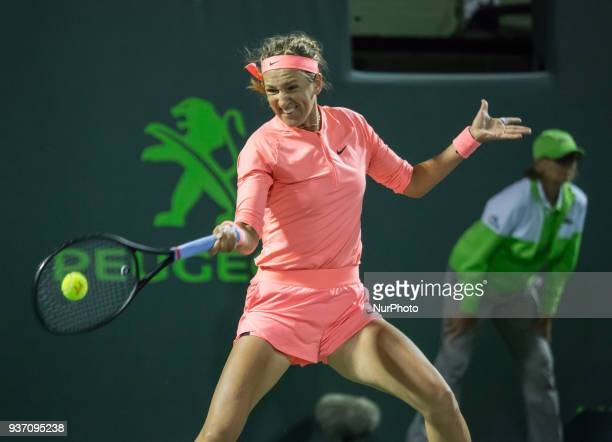 Victoria Azarenka from Belarus in action against Madison Keys from the US Azarenka advances to the third round of the Miami Open after Keys retired...