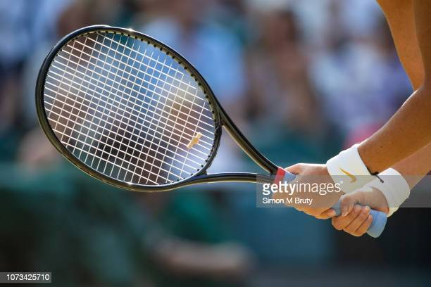 Victoria Azarenka from Belarus in action during the Mixed Doubles Final. The Wimbledon Lawn Tennis Championship at the All England Lawn Tennis and...