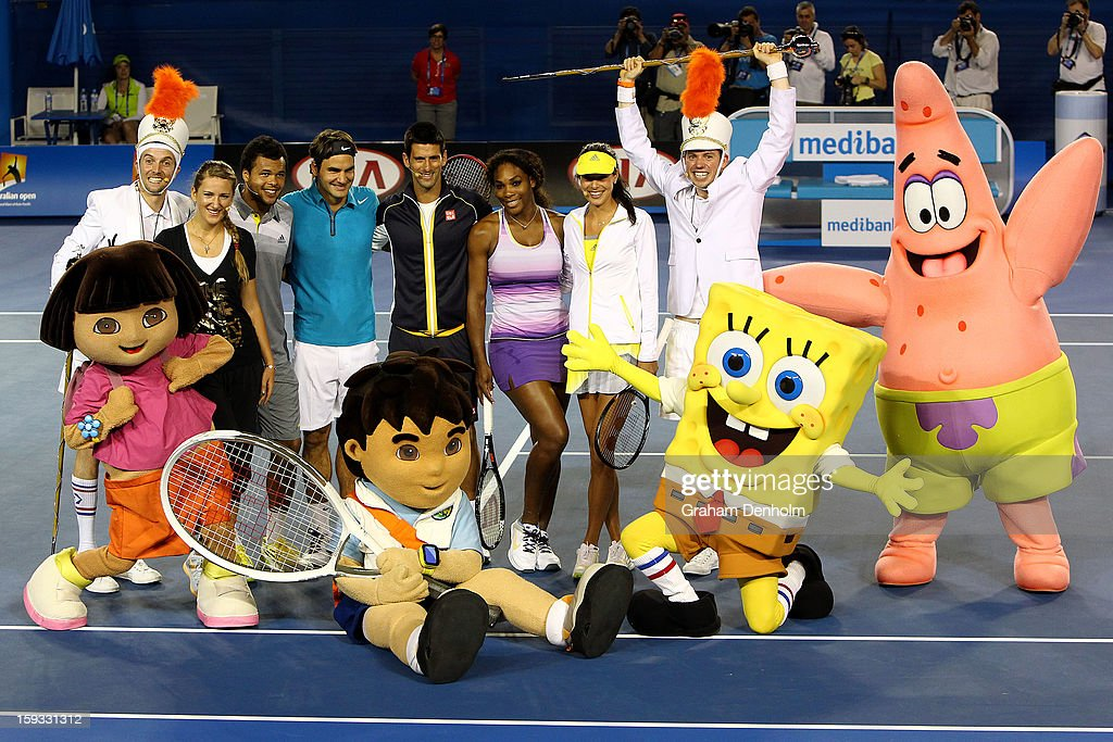 Victoria Azarenka, Jo-Wilfried Tsonga, Roger Federer, Novak Djokovic, Serena Williams and Ana Ivanovic pose with Nickelodeon characters during the Rod Laver Arena spectacular at Kids Tennis Day ahead of the 2013 Australian Open at Melbourne Park on January 12, 2013 in Melbourne, Australia.