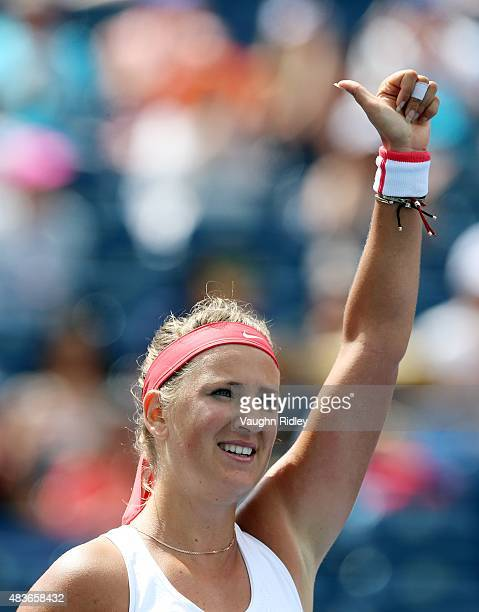 Victoria Azarenka of Belarus acknowledges the crowd after winning her match against Elina Svitolina of Ukraine during Day 2 of the Rogers Cup at the...