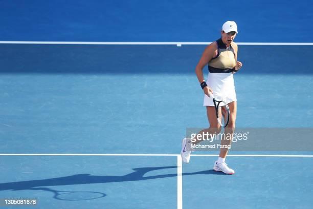 Victoria Azarenka of Belarus celebrates a point in her Round of 16 singles match against Laura Siegemund of Germany during Day Three of the Qatar...