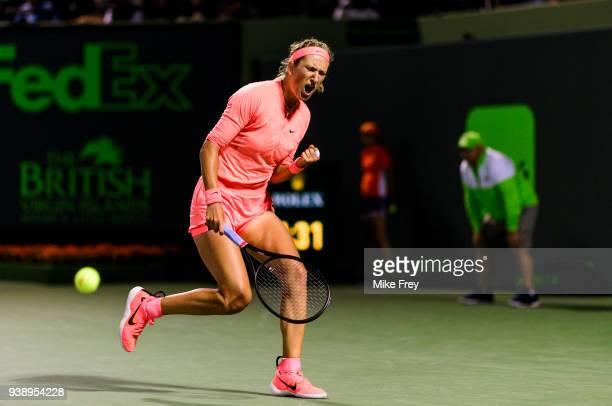 Victoria Azarenka of Belarus celebrates after winning a point against Karolina Pliskova of The Czech Republic during Day 9 of the Miami Open...