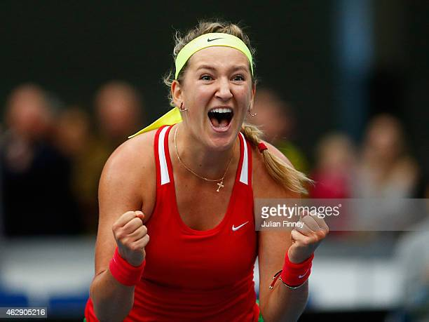 Victoria Azarenka of Belarus celebrates defeating Heather Watson of Great Britain to win the play off during day four of the Fed Cup/Africa Group One...