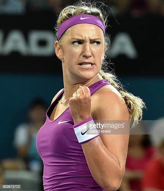 Victoria Azarenka of Belarus celebrates her point against Samantha Crawford of the US during their women's singles semifinal on the sixth day of the...