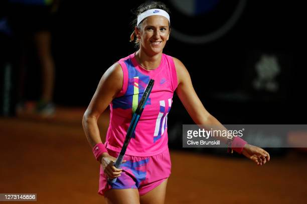 Victoria Azarenka of Belarus celebrates in her round two match against Sofia Kenin of The United States during day four of the Internazionali BNL...