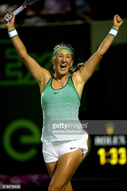 Victoria Azarenka of Belarus celebrates match point against Angelique Kerber of Germany during the semifinals of the Miami Open presented by Itau at...