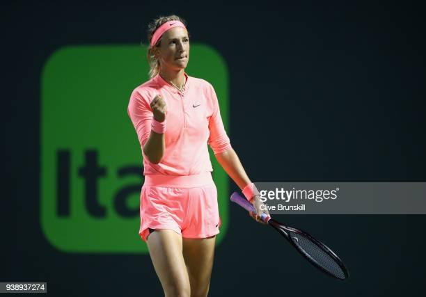 Victoria Azarenka of Belarus celebrates match point against Karolina Pliskova of the Czech Republic in their quarter final match during the Miami...