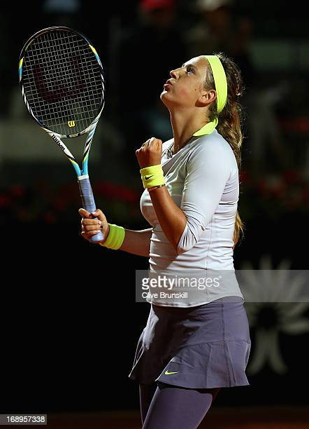 Victoria Azarenka of Belarus celebrates match point against Samantha Stosur of Austarlia in their quarter final round match during day six of the...