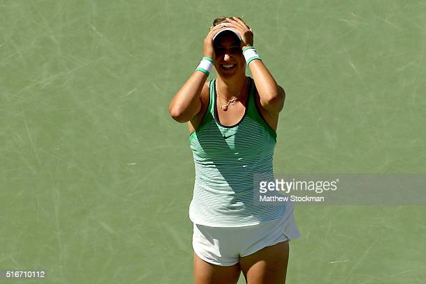 Victoria Azarenka of Belarus celebrates match point against Serena Williams during the women's final of the BNP Paribas Open at the Indian Wells...