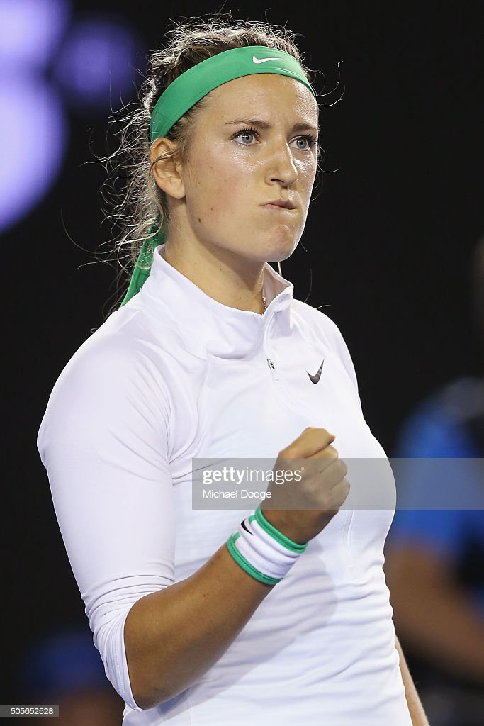 Victoria Azarenka of Belarus celebrates match point in her first round match against Alison Van Uytvanck of Belgium during day two of the 2016 Australian Open at Melbourne Park on January 19, 2016 in Melbourne, Australia.