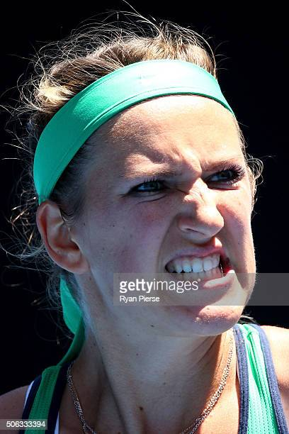 Victoria Azarenka of Belarus celebrates winning a point in her third round match against Naomi Osaka of Japan during day six of the 2016 Australian...