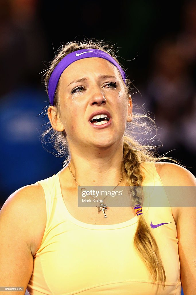 Victoria Azarenka of Belarus celebrates winning championship point after winning her women's final match against Na Li of China during day thirteen of the 2013 Australian Open at Melbourne Park on January 26, 2013 in Melbourne, Australia.