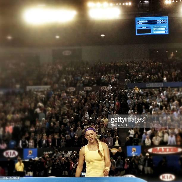 Victoria Azarenka of Belarus celebrates winning championship point after winning her women's final match against Na Li of China during day thirteen...