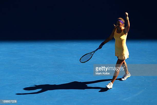 Victoria Azarenka of Belarus celebrates winning her Semifinal match against Sloane Stephens of the United States during day eleven of the 2013...