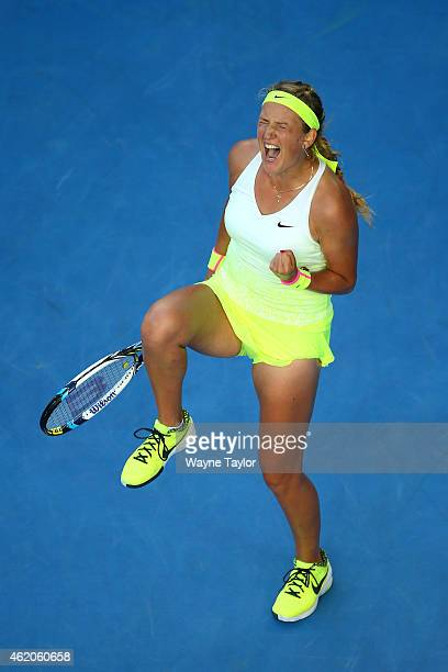 Victoria Azarenka of Belarus celebrates winning her third round match against Barbora Zahlavova Strycova of the Czech Republic during day six of the...