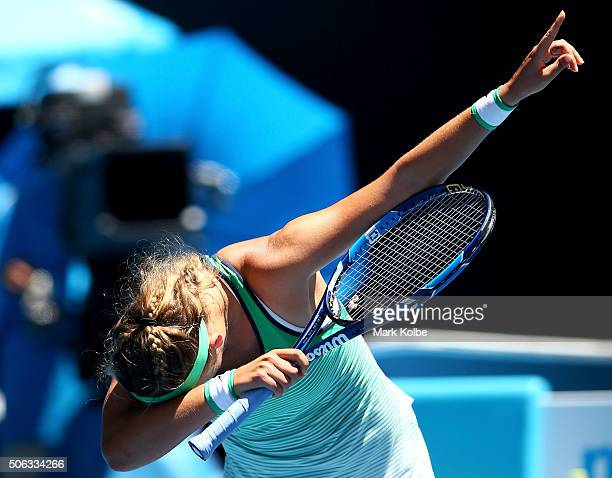 Victoria Azarenka of Belarus celebrates winning her third round match against Naomi Osaka of Japan with her viral 'dabbing' dance during day six of...