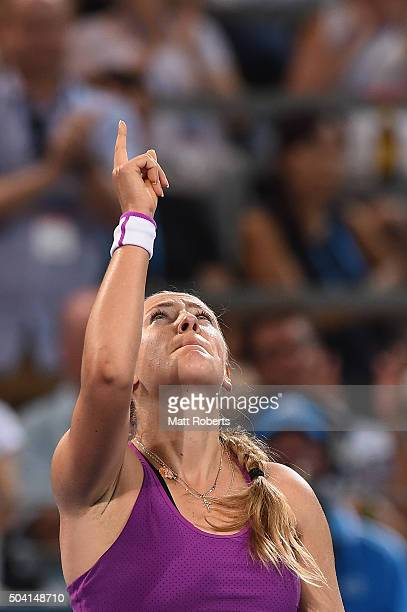 Victoria Azarenka of Belarus celebrates winning her Women's Final against Angelique Kerber of Germany during day seven of the 2016 Brisbane...