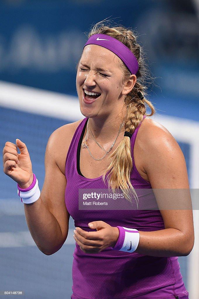 Victoria Azarenka of Belarus celebrates winning her Women's Final against Angelique Kerber of Germany during day seven of the 2016 Brisbane International at Pat Rafter Arena on January 9, 2016 in Brisbane, Australia.