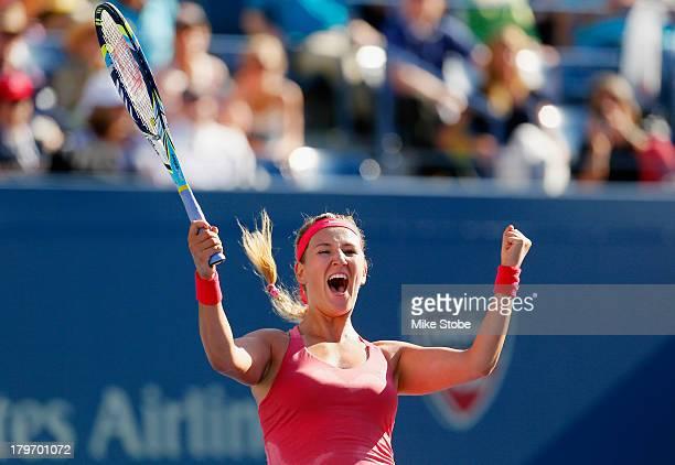 Victoria Azarenka of Belarus celebrates winning her women's singles semifinal match against Flavia Pennetta of Italy on Day Twelve of the 2013 US...