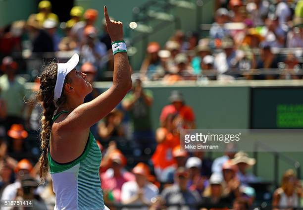 Victoria Azarenka of Belarus celebrates winning the Women's Final against Svetlana Kuznetsova of Russia during Day 13 of the Miami Open presented by...