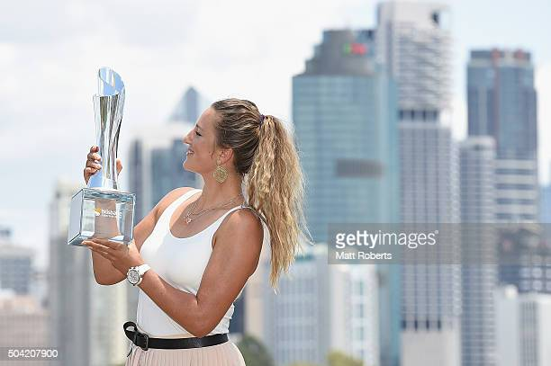 Victoria Azarenka of Belarus holds the Evonne Goolagong Cawley trophy at Kangaroo Point during day eight of the 2016 Brisbane International at Pat...