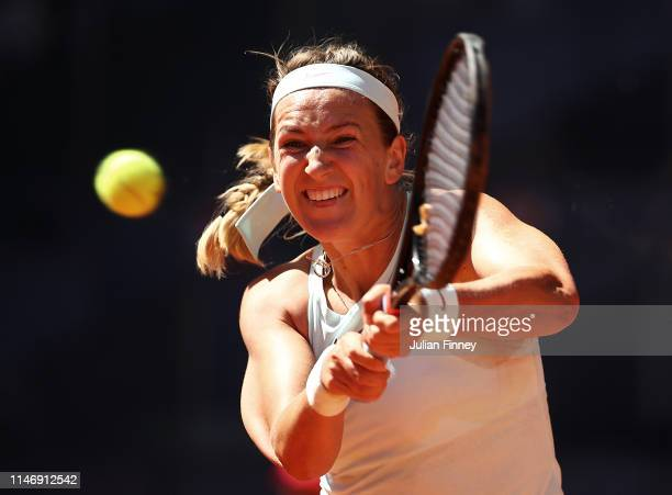 Victoria Azarenka of Belarus in action against Daria Kasatkina of Russia during day one of the Mutua Madrid Open at La Caja Magica on May 04 2019 in...
