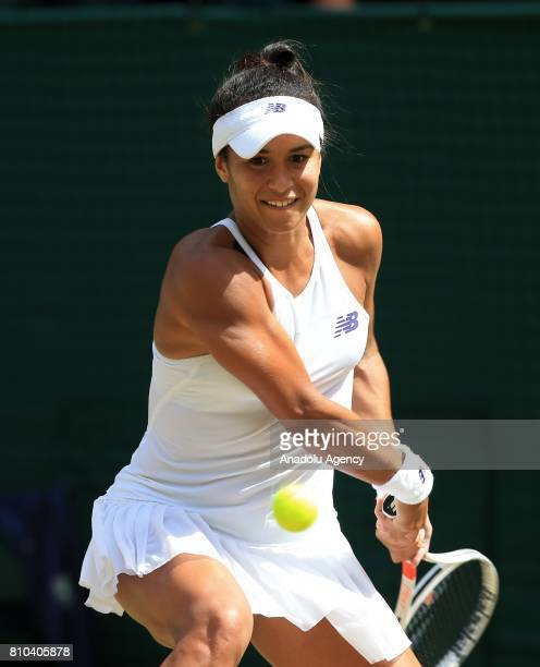 Victoria Azarenka of Belarus in action against Heather Watson of Great Britain on day five of the 2017 Wimbledon Championships at the All England...
