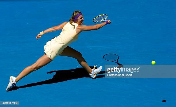 Victoria Azarenka of Belarus in action during her Quarterfinal match against Svetlana Kuznetsova of Russia on day ten of the 2013 Australian Open at...