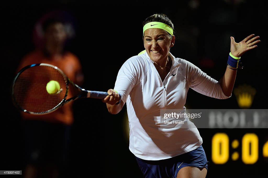 Victoria Azarenka of Belarus in action during her Third Round match against Irina-Camelia Begu of Romania on Day Five of The Internazionali BNL d'Italia 2015 at the Foro Italico on May 14, 2015 in Rome, Italy.