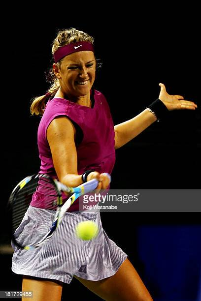 Victoria Azarenka of Belarus in action during her women's singles second round match against Venus Williams of the United States during day three of...