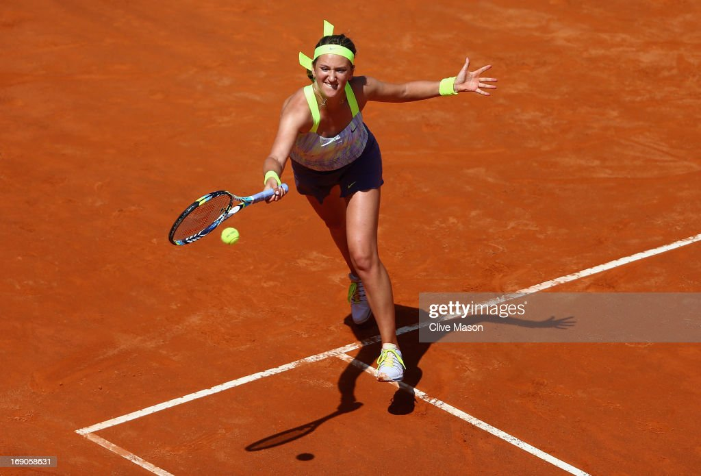 Victoria Azarenka of Belarus in action during the womens final against Serena Williams of the USA on day eight of the Internazionali BNL d'Italia 2013 at the Foro Italico Tennis Centre on May 19, 2013 in Rome, Italy.
