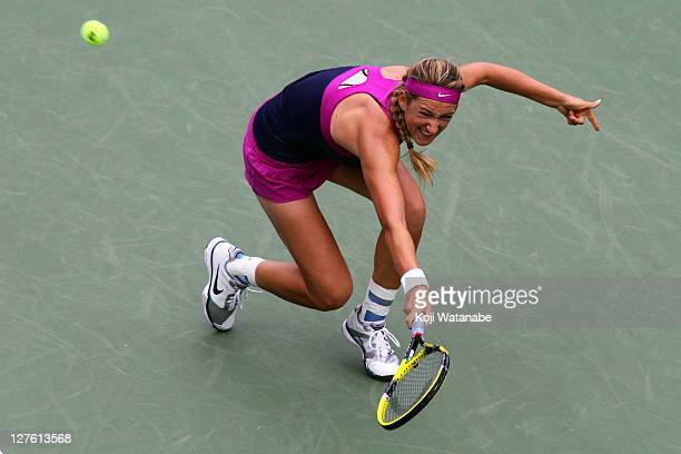 Victoria Azarenka of Belarus in action in her match against Agnieszka Radwanska of Poland during the day six of the Toray Pan Pacific Open at Ariake...