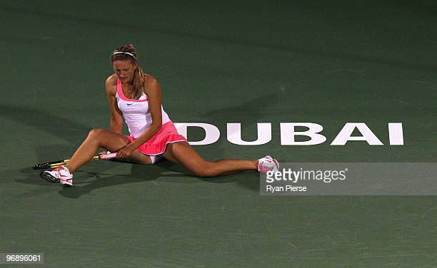 Victoria Azarenka of Belarus looks dejected after falling over during her final match against Venus Williams of the USA during day seven of the WTA...