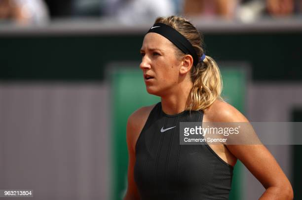 Victoria Azarenka of Belarus looks on during the ladies singles first round match against Katerina Siniakova of Czech Republic during day two of the...
