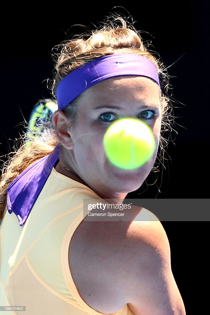 Victoria Azarenka of Belarus plays a backhand in her third round match against Jamie Hampton of the United States during day six of the 2013 Australian Open at Melbourne Park on January 19, 2013 in Melbourne, Australia.