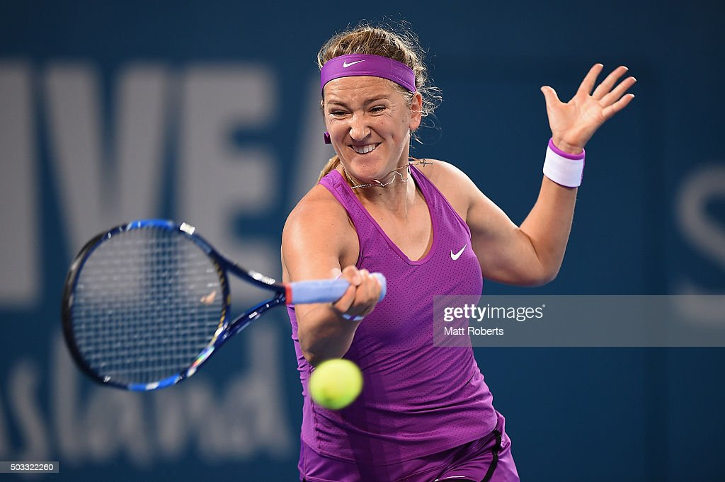 Victoria Azarenka of Belarus plays a forehand against Elena Vesnina of Russia during day two of the 2016 Brisbane International at Pat Rafter Arena on January 4, 2016 in Brisbane, Australia.