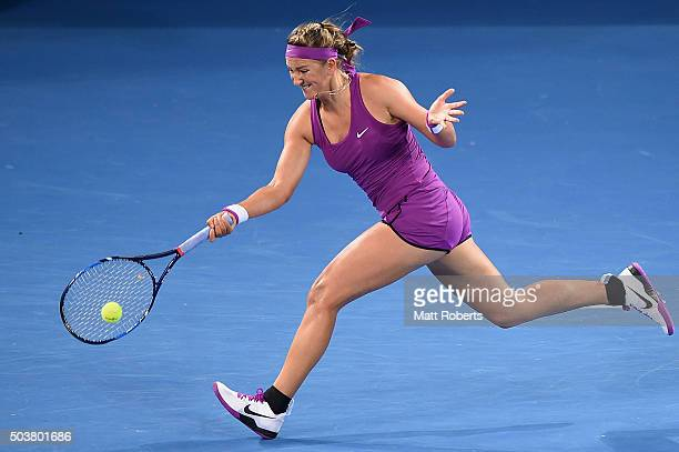 Victoria Azarenka of Belarus plays a forehand against Roberta Vinci of Italy during day five of the 2016 Brisbane International at Pat Rafter Arena...