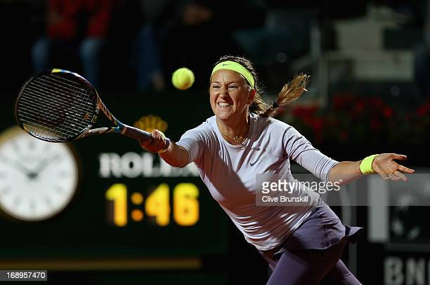 Victoria Azarenka of Belarus plays a forehand against Samantha Stosur of Austarlia in their quarter final round match during day six of the...