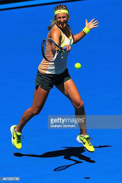Victoria Azarenka of Belarus plays a forehand during a training session ahead of the 2015 Australian Open at Melbourne Park on January 11 2015 in...