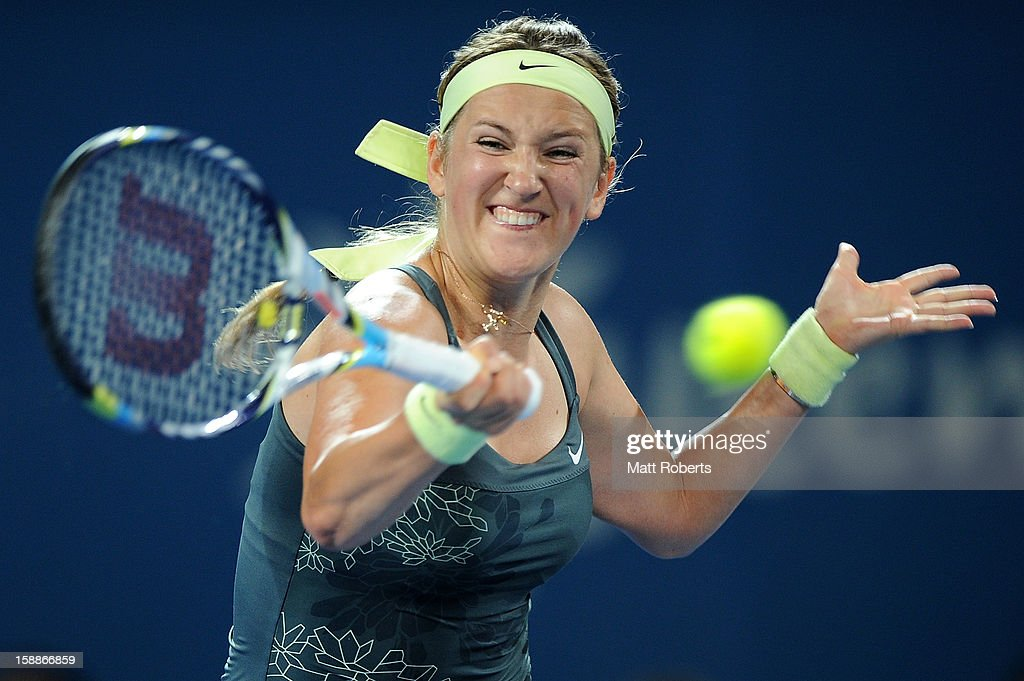 Victoria Azarenka of Belarus plays a forehand during her match against Sabine Lisicki of Germany on day four of the Brisbane International at Pat Rafter Arena on January 2, 2013 in Brisbane, Australia.