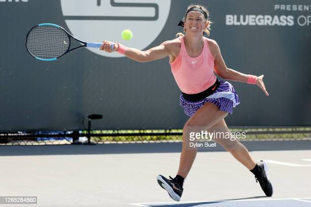 Victoria Azarenka of Belarus plays a forehand during her match against Venus Williams during Top Seed Open - Day 2 at the Top Seed Tennis Club on...
