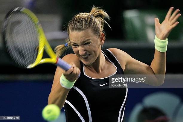 Victoria Azarenka of Belarus plays a forehand in her match against Coco Vandeweghe of the United States on day five of the Toray Pan Pacific Open...