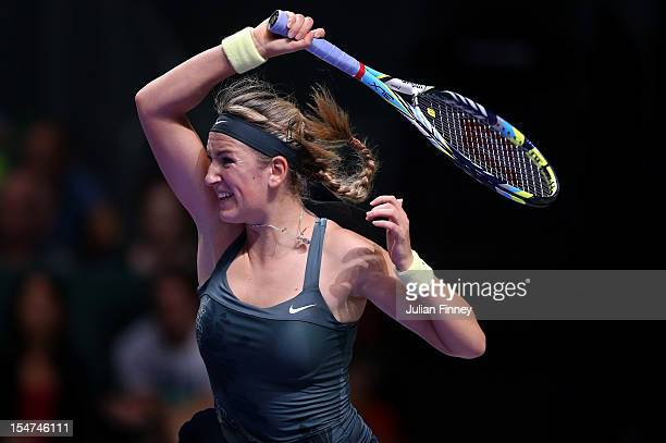 Victoria Azarenka of Belarus plays a forehand in her match against Serena Williams of USA during day three of the season ending TEB BNP Paribas WTA...