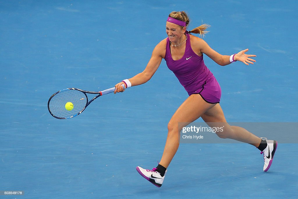 Victoria Azarenka of Belarus plays a forehand in her match against Ysaline Bonaventure of Belgium during day four of the 2016 Brisbane International at Pat Rafter Arena on January 6, 2016 in Brisbane, Australia.